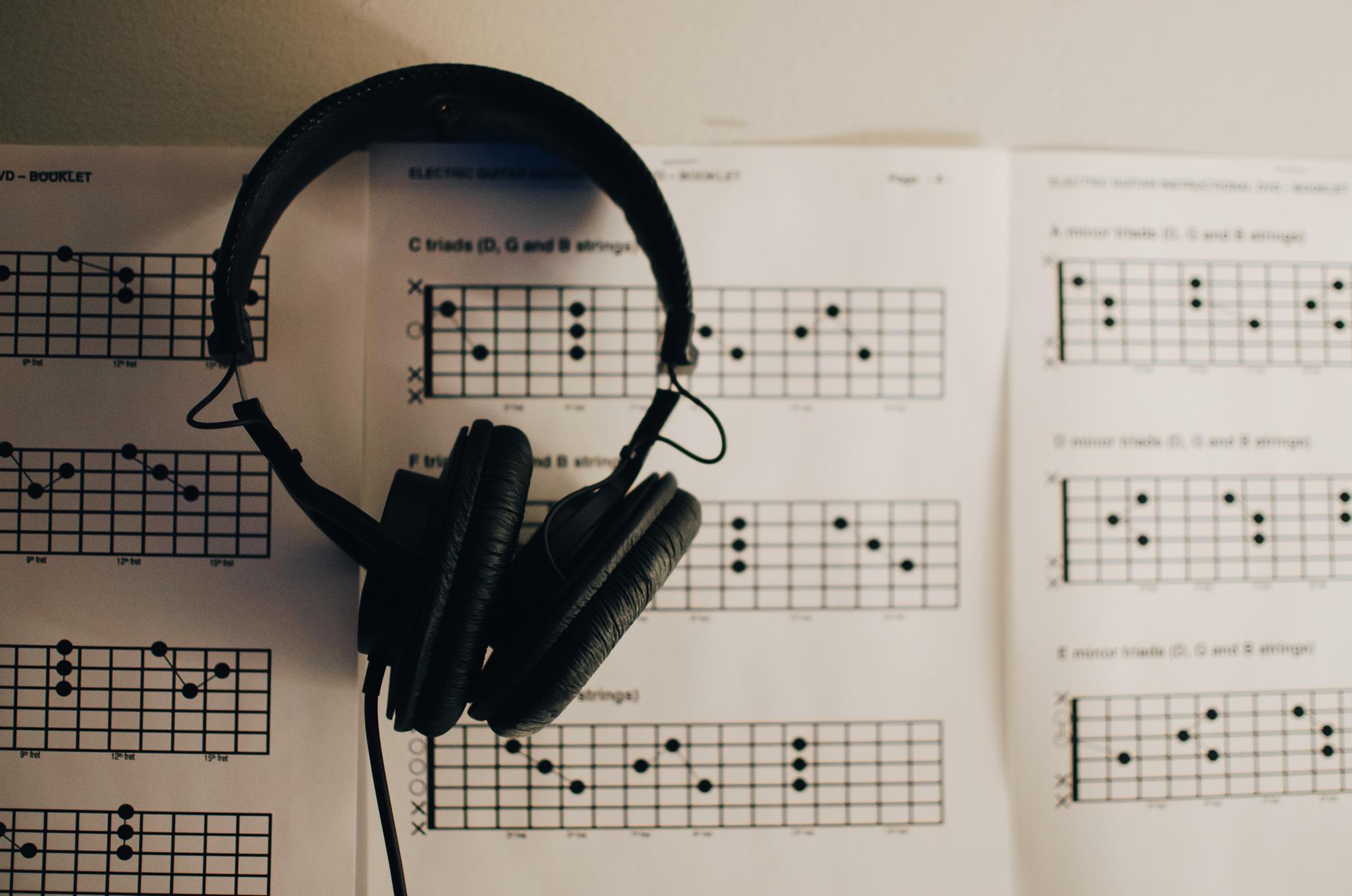 Guitar tab and headphones